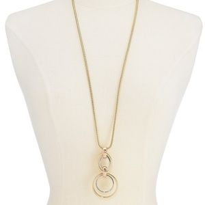 Alfani two-tone hoop link pendant necklace NEW!